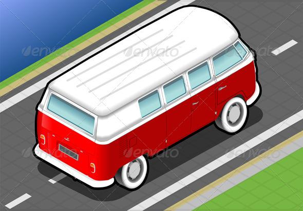 Isometric Bicolor Van in Rear View - Objects Vectors