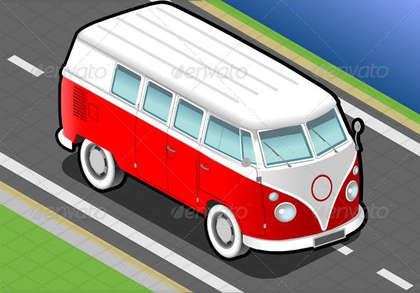 Isometric Bicolor Van in Front View - Objects Vectors