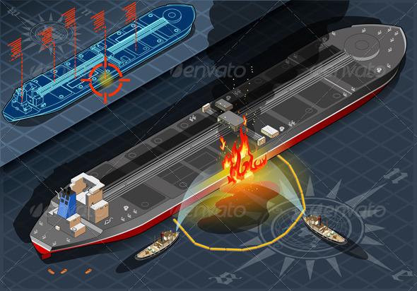 Isometric Oil Tanker Fire Disaster in Rear View - Objects Vectors