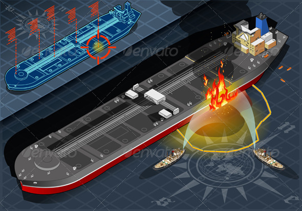 Isometric Oil Tanker Fire Disaster in FrontView - Objects Vectors