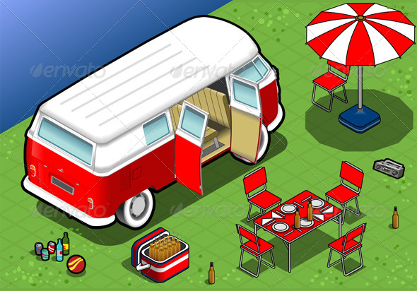 Isometric Bicolor Van in Camping in Rear View - Objects Vectors