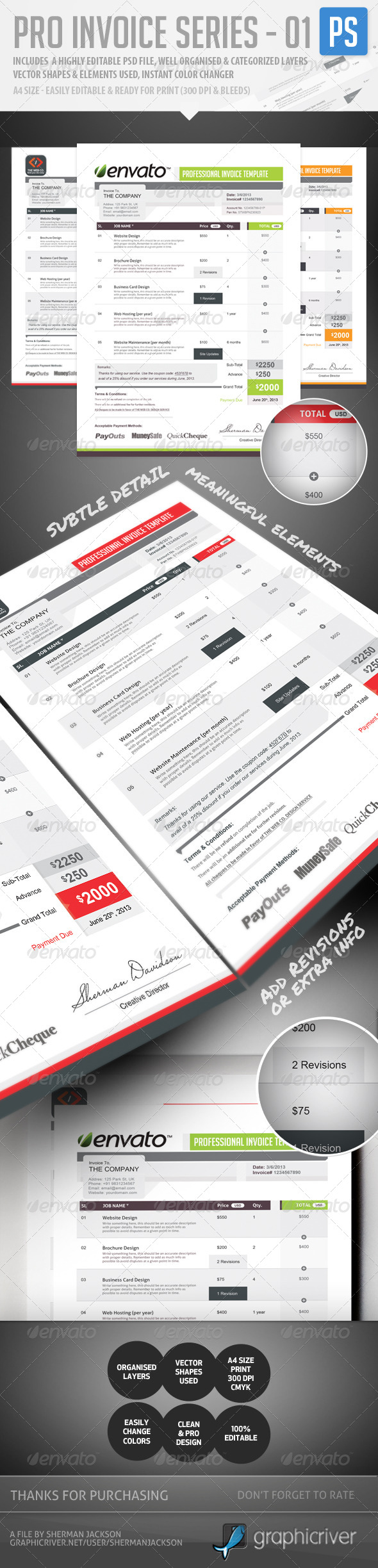 Pro Invoice Template Series - 01 - Proposals & Invoices Stationery