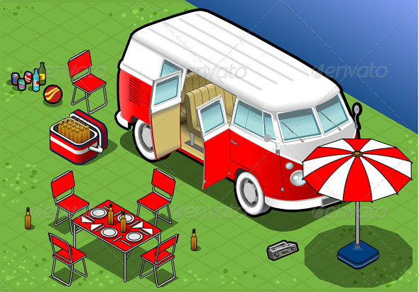 Isometric Bicolor Van in Camping in Front View - Objects Vectors