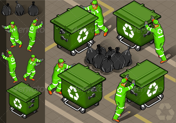 Isometric Set of Garbage Men in Four Positions - People Characters