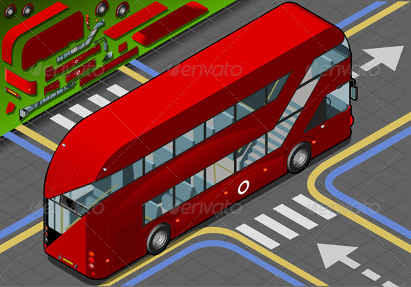Isometric Double Decker Bus in Rear View - Objects Vectors