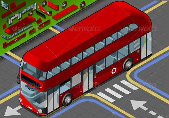 Isometric Double Decker Bus in Front View - Objects Vectors