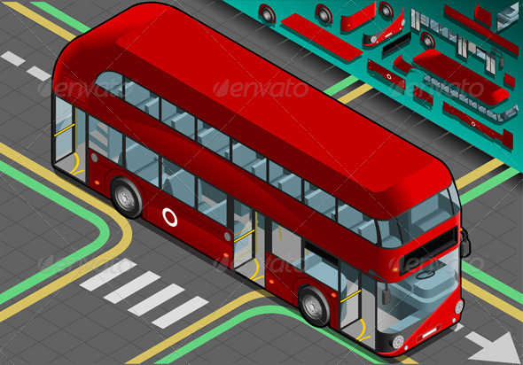 Isometric Double Decker Bus with Open Doors - Objects Vectors