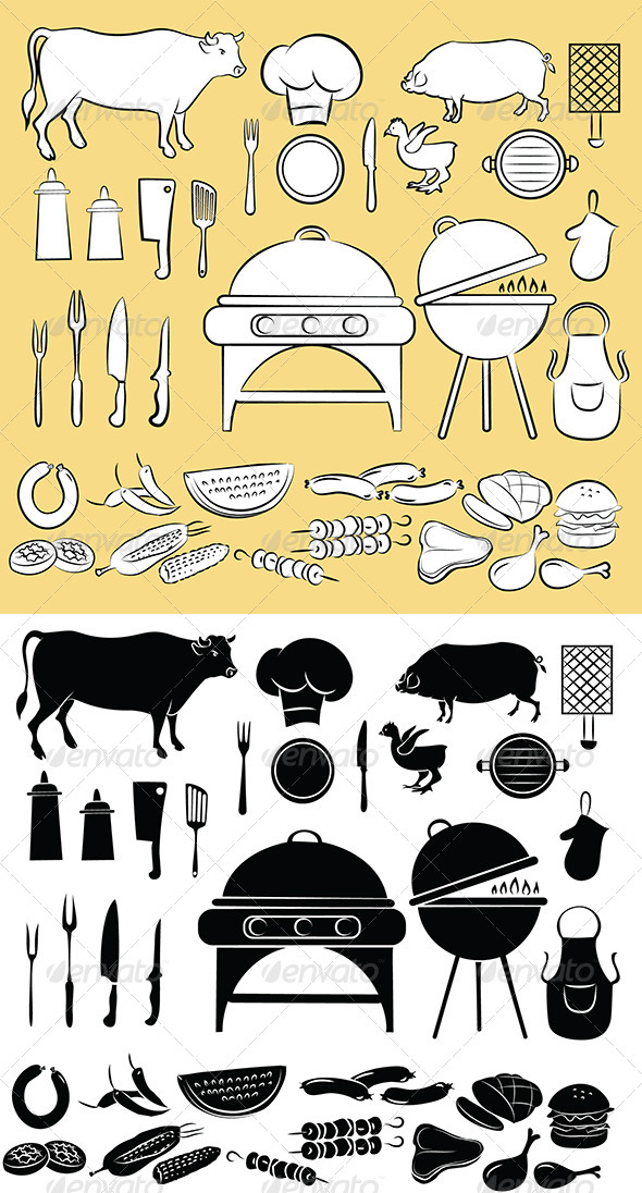 Barbecue Icon Set - Food Objects
