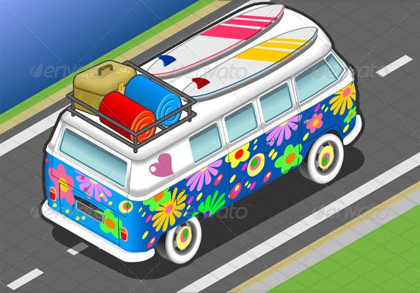 Isometric Flower Van in Rear View - Objects Vectors