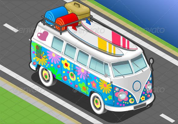 Isometric Flower Van in Front View - Objects Vectors
