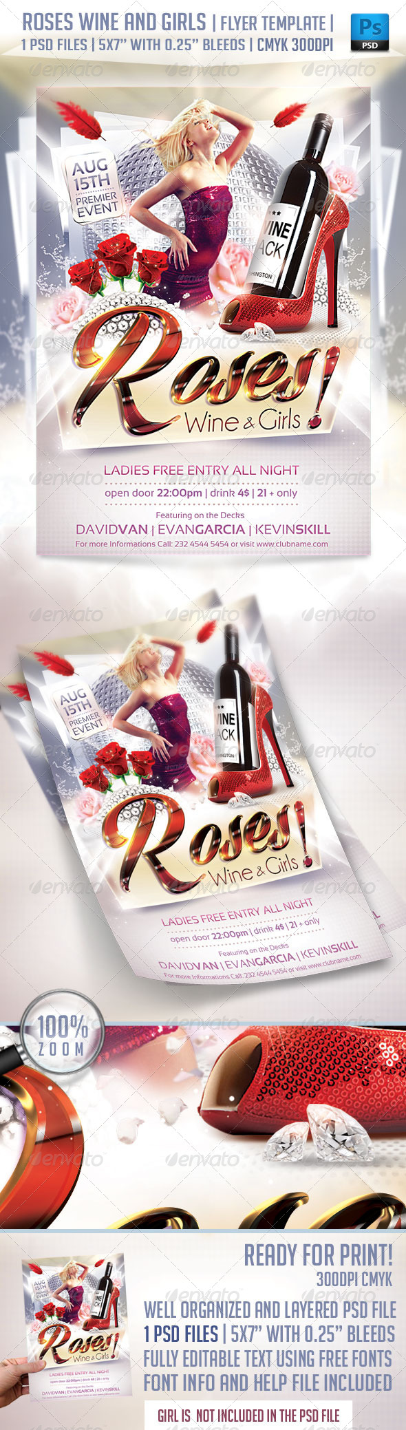 Roses Wine and Girls Flyer Template - Clubs & Parties Events