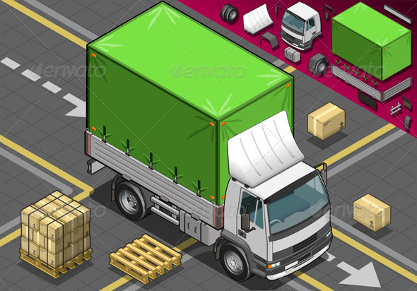 Isometric Pick Up Truck with Tarpaulin - Objects Vectors