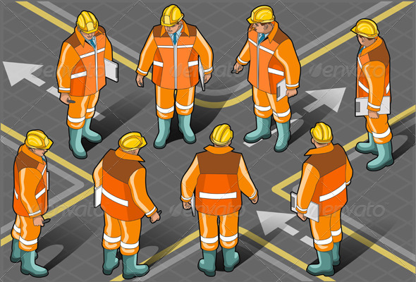 Isometric Standing Foreman in Eight Positions - People Characters