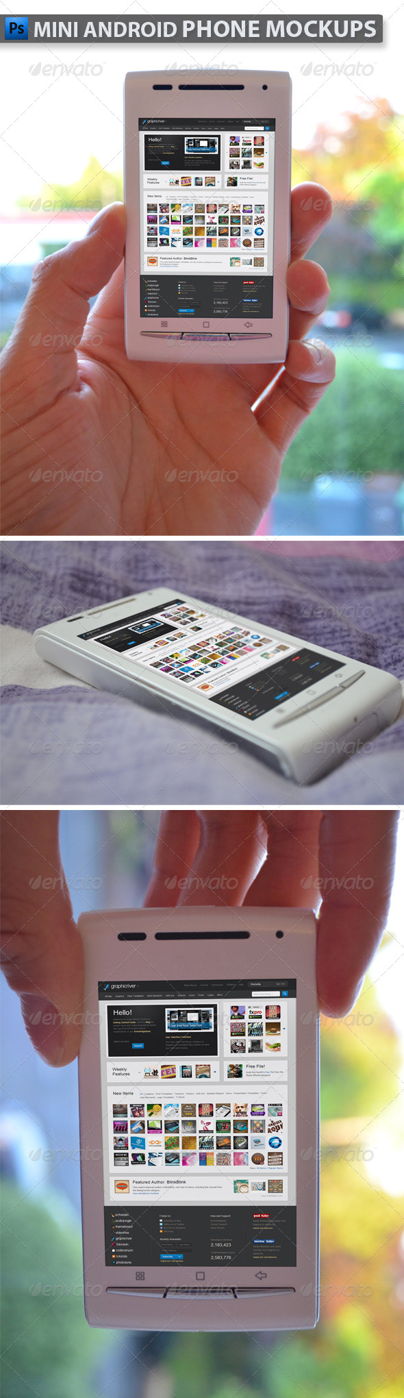 Mini Phone Mockups - Product Mock-Ups Graphics
