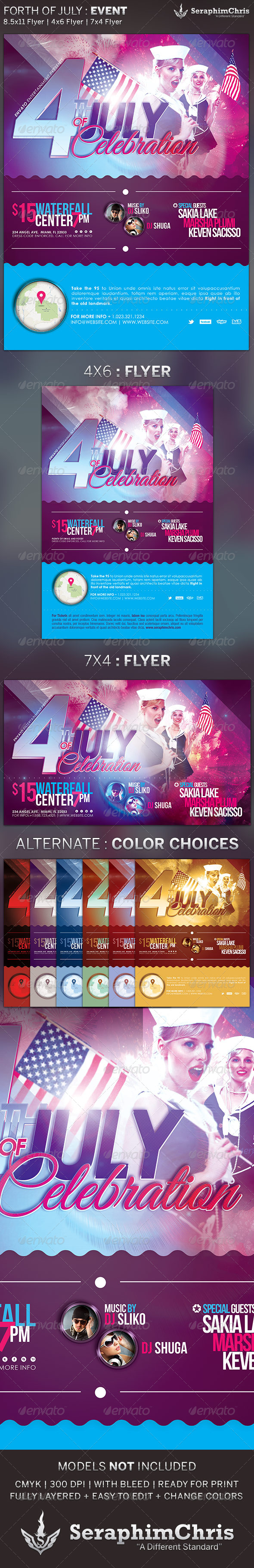 Fourth of July Celebration: Event Flyer Template - Events Flyers