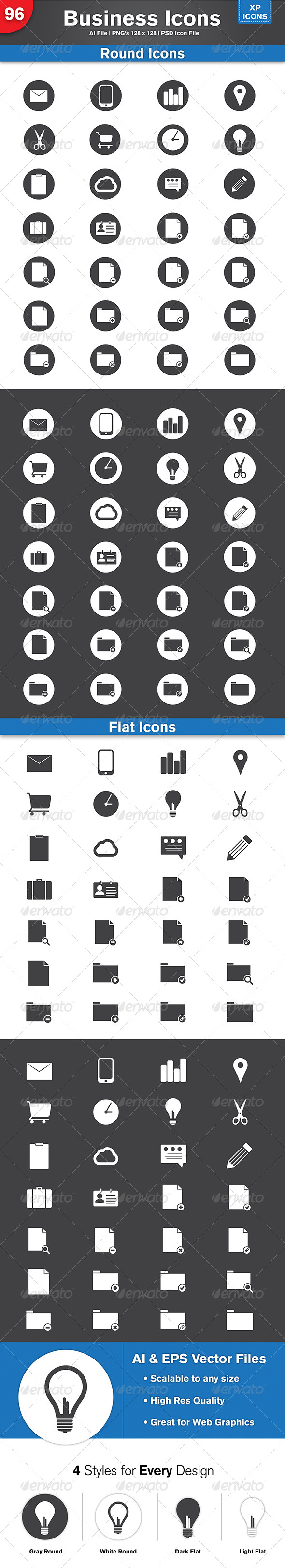 96 Flat & Round Business Icons - Icons