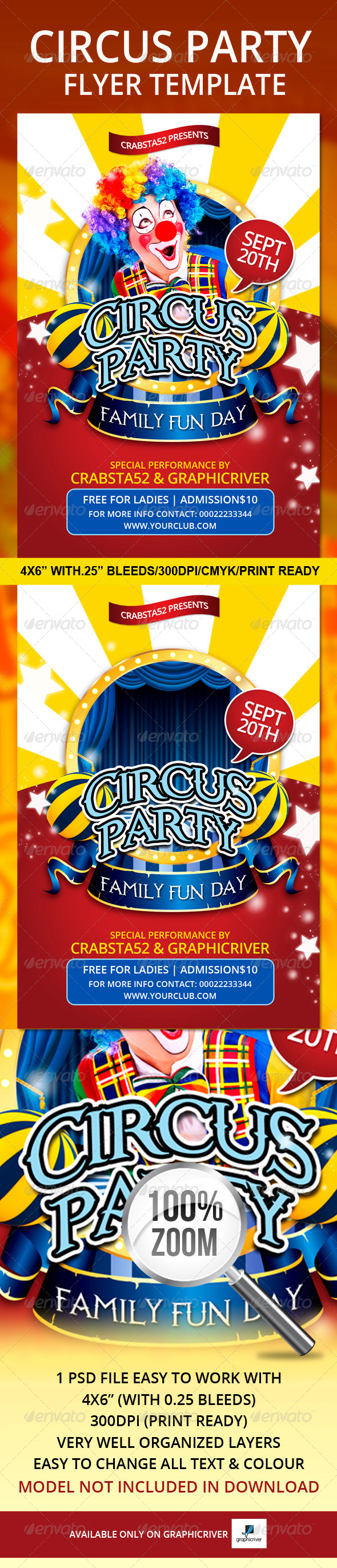 Circus Party Flyer Template  - Events Flyers