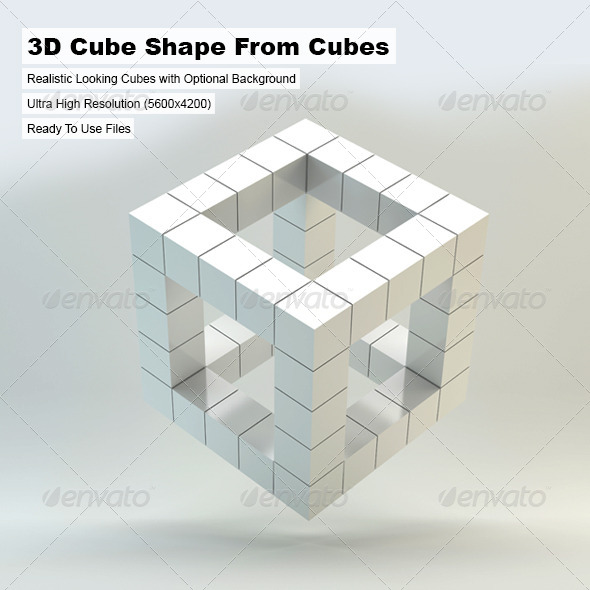 3D Cube Shape From Cubes - 3D Renders Graphics