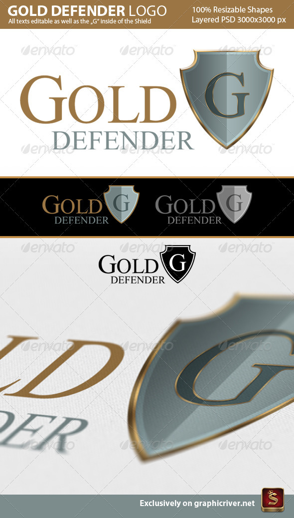 Gold Defender Logo Template - Crests Logo Templates