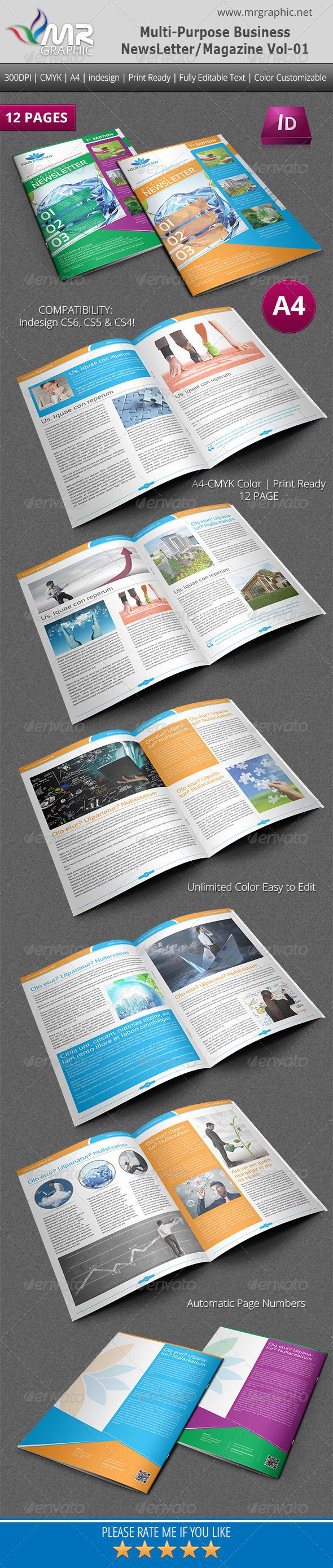 Multipurpose Business Newsletter/Magazine Vol-01 - Newsletters Print Templates