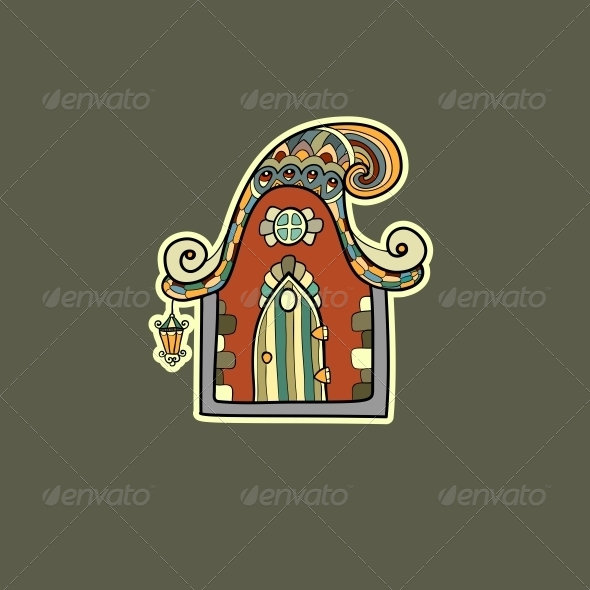Ornate House Vector Illustration - Backgrounds Decorative