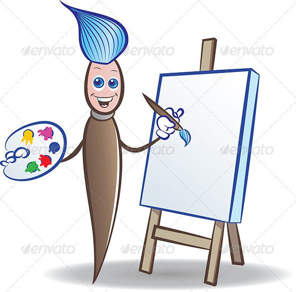 Painter Mascot - Characters Vectors