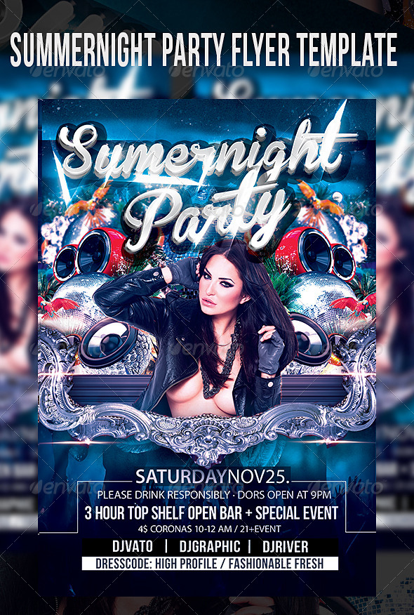 Summernight Party Flyer Template - Clubs & Parties Events