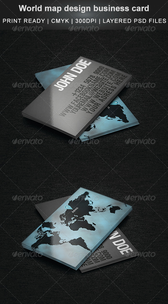 World Map Design Business Card by Cata05 | GraphicRiver