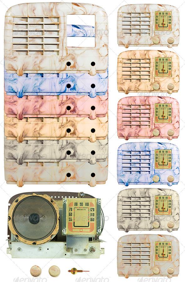 Antique Bakelite Radio Parts 05 - Technology Isolated Objects