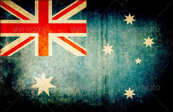 Grunge Dirty Australia Flag - Vectors