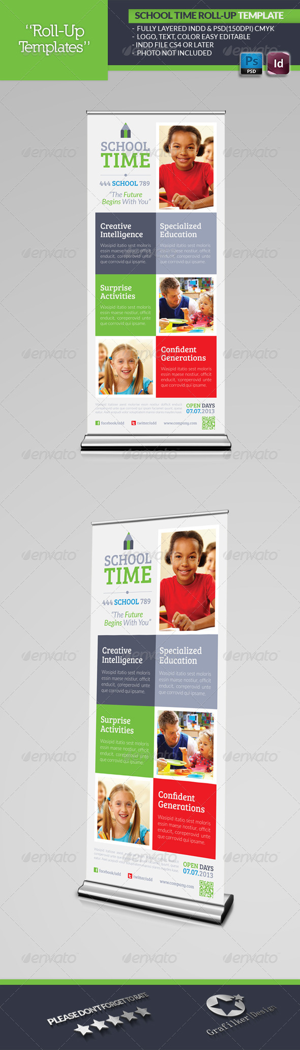 School Time Roll-Up Template - Signage Print Templates