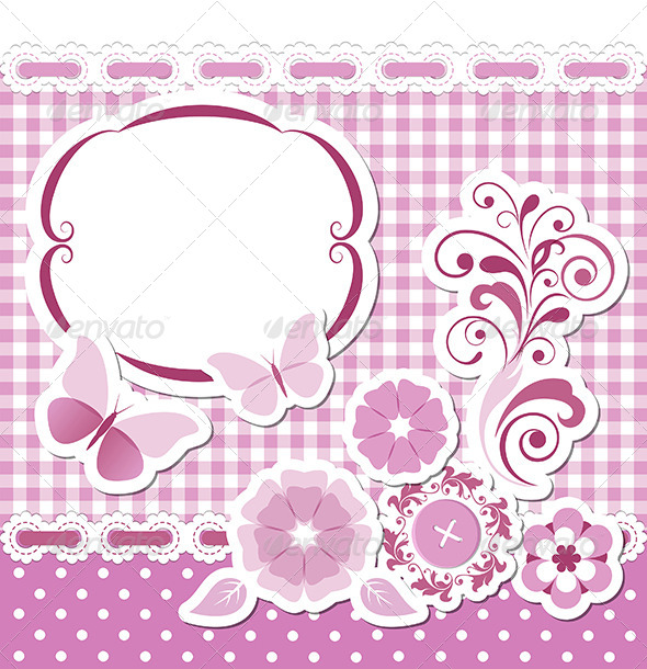 Floral Scrapbook Pink Set - Borders Decorative