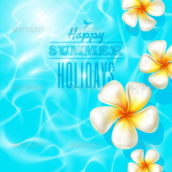 Frangipani Flowers in Clear Blue Water - Flowers & Plants Nature