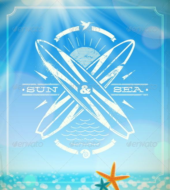 Vector Surfing Grunge Vintage Emblem  - Travel Conceptual