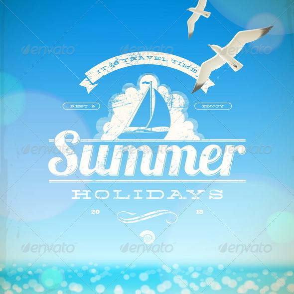 Summer Holidays Vector Emblem and Seagulls - Travel Conceptual