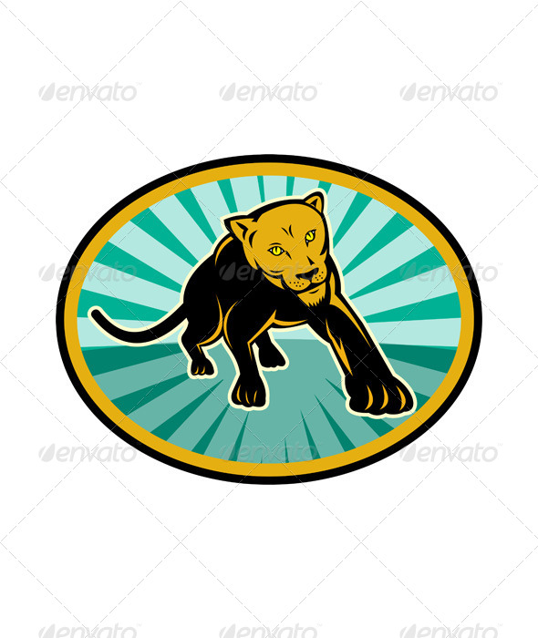 Lioness Big Cat Pouncing Retro - Animals Characters