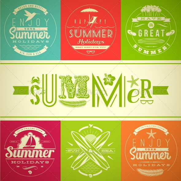 Summer Vacation and Holidays Lettering Emblems - Travel Conceptual