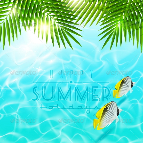 Summer Holiday Design With Tropical Fishes - Nature Conceptual