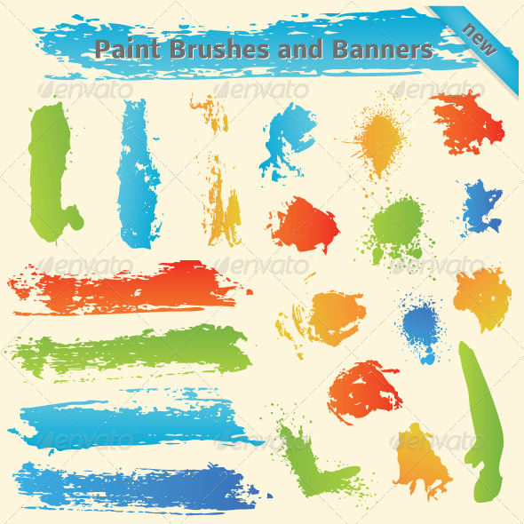 Brushes and Paint Banners - Decorative Symbols Decorative