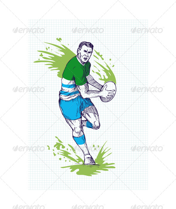Rugby Player Running Passing Ball Sketch - People Characters