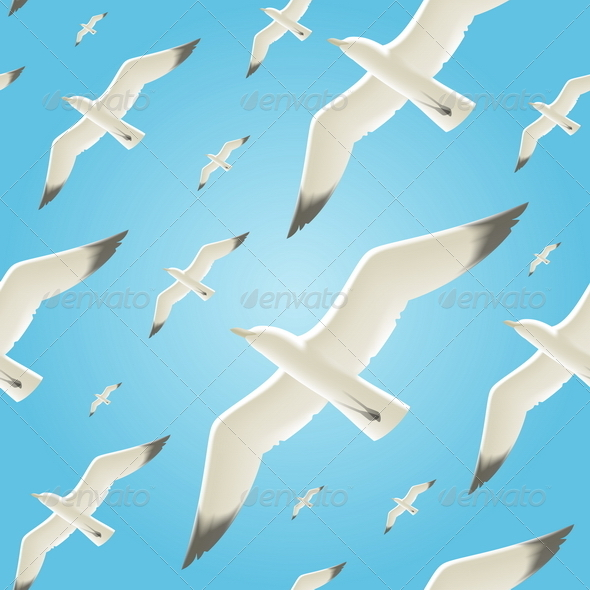 Vector Seamless Background With Seagulls - Animals Characters