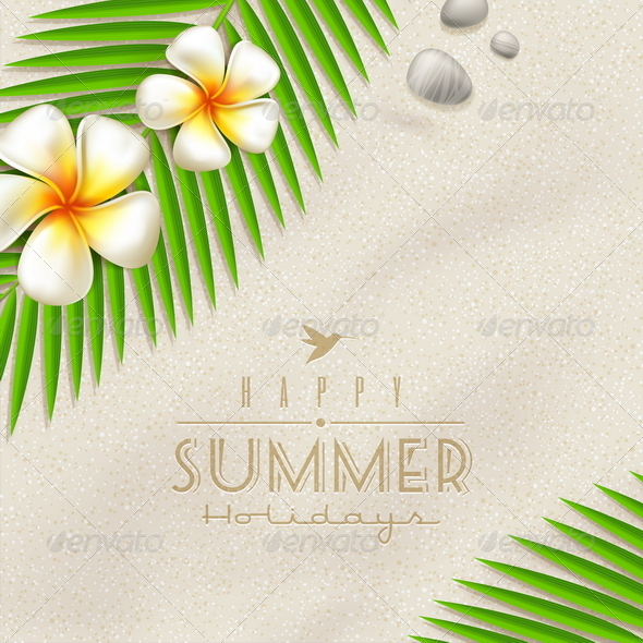 Summer Holidays Vector Design With Lettering - Nature Conceptual