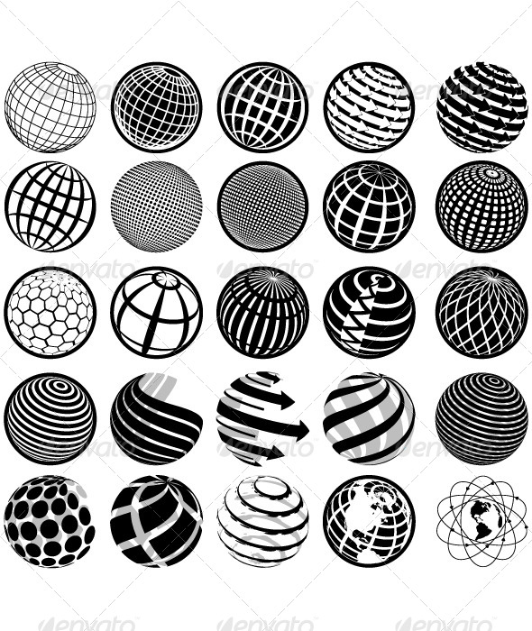Black and White Icons Globe - Decorative Symbols Decorative