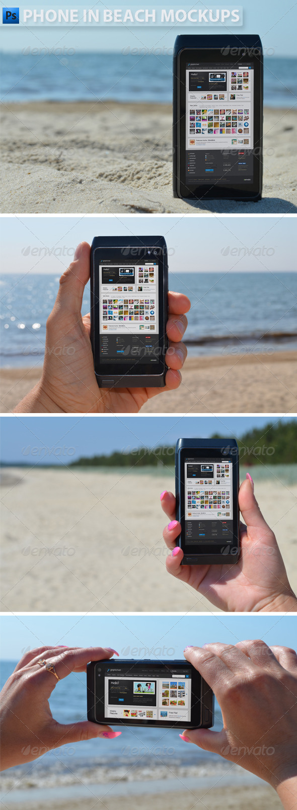 Phone in Beach Mock-ups - Product Mock-Ups Graphics