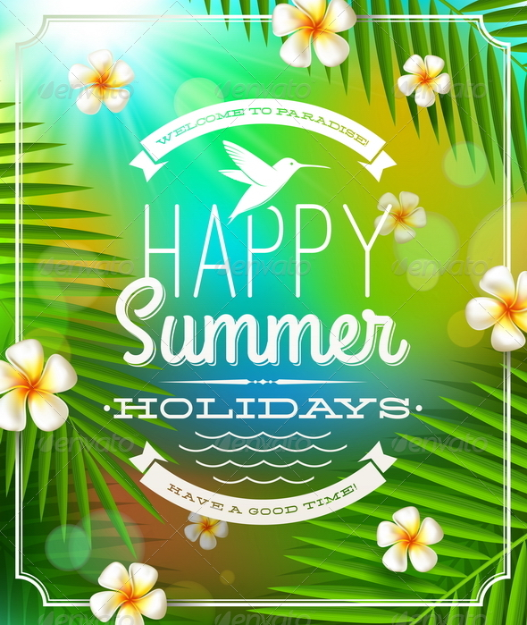Summer Holidays Emblem and Flowers - Nature Conceptual