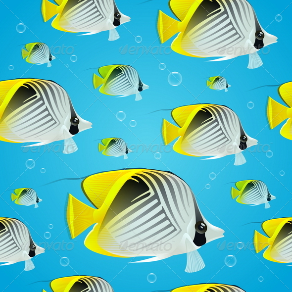 Seamless Background - Tropical Butterflyfish - Animals Characters