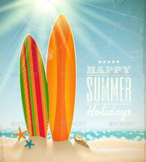Vintage Surfboards on a Sunny Beach - Travel Conceptual