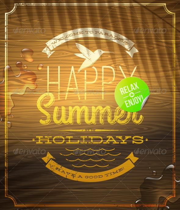 Summer Holidays Lettering Emblem - Travel Conceptual