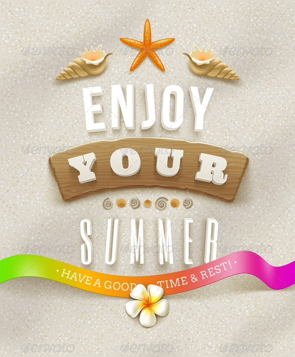 Summer Lettering with Tropical Nature Elements - Travel Conceptual