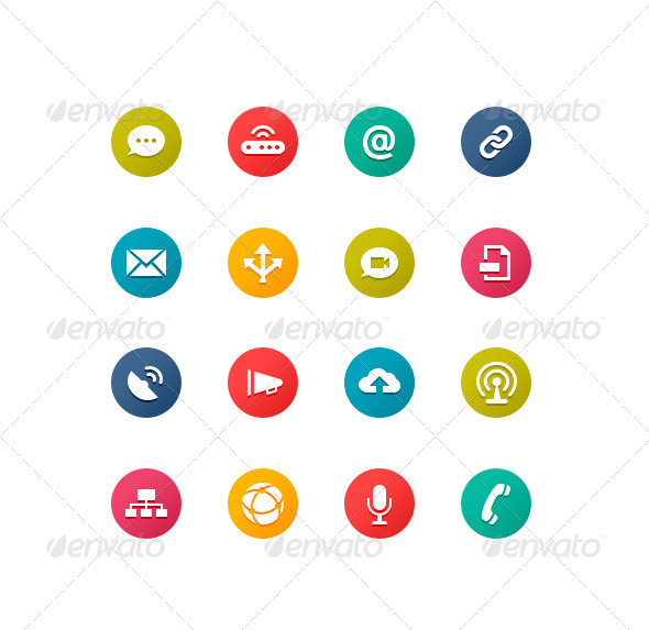 Flat Communication Icons - Icons